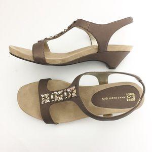 Anne Klein Wedge Sandals Rhinestone Accent Size10